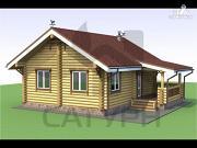 Фото: деревянный дом с камином и террасой