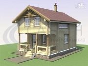 Фото: деревянный дом с сауной и террасой
