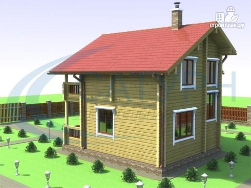 Фото 5: проект деревянный дом в полтора этажа с балконом