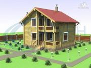 Фото: деревянный дом в полтора этажа с балконом