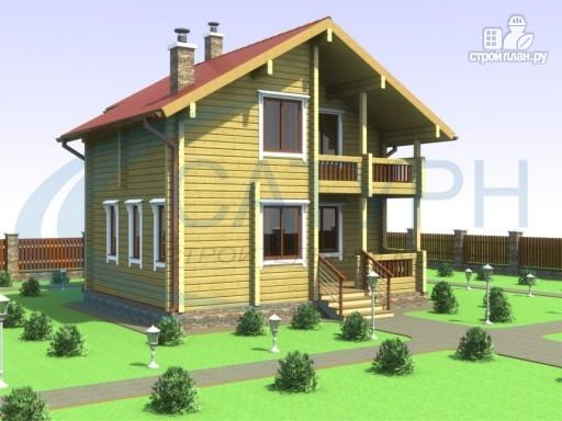 Фото 4: проект деревянный дом в полтора этажа с балконом