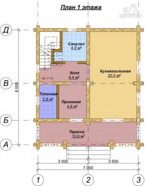 Фото 2: проект деревянный дом 6х7 с мансардой и террасой