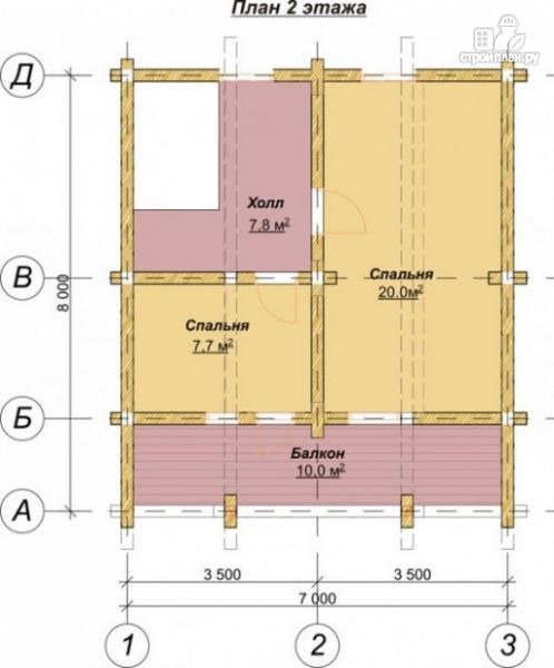 Фото 3: проект деревянный дом 6х7 с мансардой и террасой