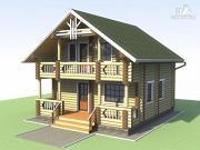Фото: деревянный дом 6х7 с мансардой и террасой