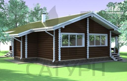 Фото 4: проект одноэтажный деревянный дом с широкой террасой