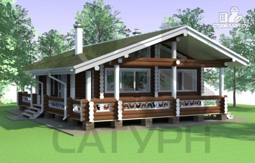 Фото 6: проект одноэтажный деревянный дом с широкой террасой