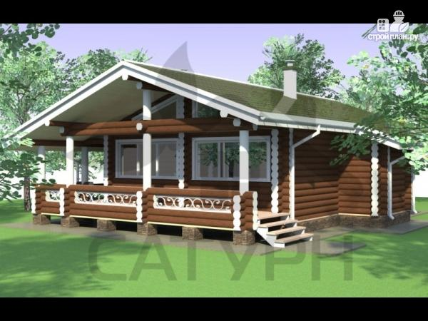 Фото: проект одноэтажный деревянный дом с широкой террасой
