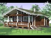 Фото: одноэтажный деревянный дом с широкой террасой