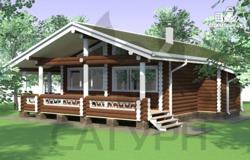 Фото 5: проект одноэтажный деревянный дом с широкой террасой