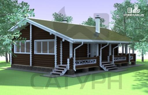 Фото 3: проект одноэтажный деревянный дом с широкой террасой