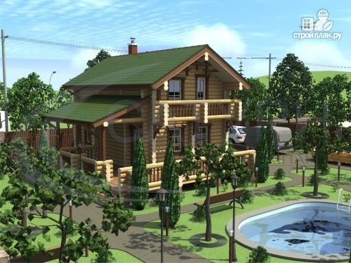 Фото 7: проект деревянный дом с балконами, террасой и сауной