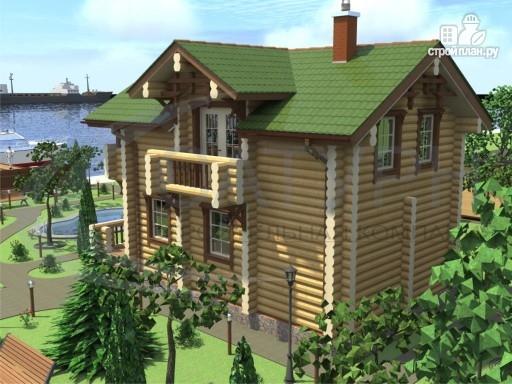 Фото 6: проект деревянный дом с балконами, террасой и сауной