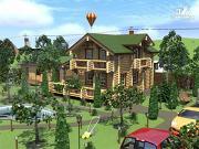 Проект деревянный дом с балконами, террасой и сауной