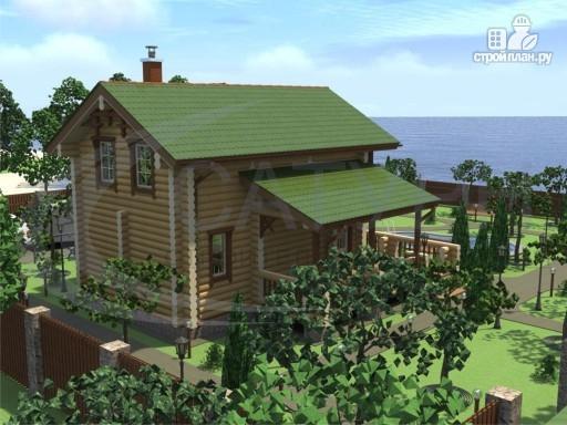 Фото 4: проект деревянный дом с балконами, террасой и сауной