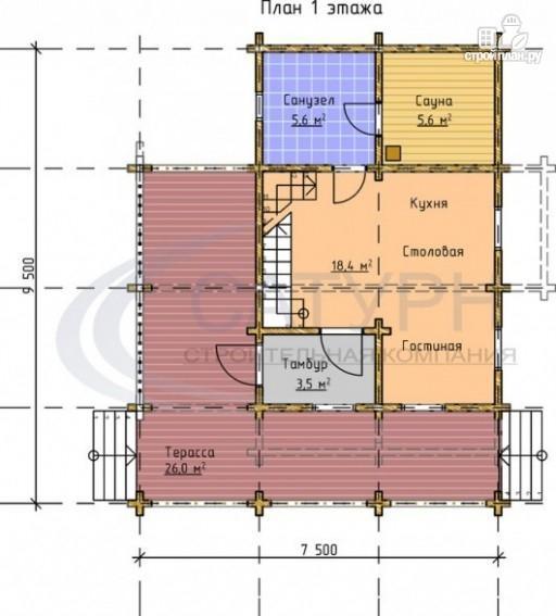 Фото 2: проект деревянный дом с балконами, террасой и сауной