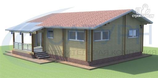 Фото 3: проект одноэтажный дом из дерева с террасой