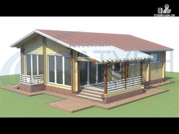 Фото: проект одноэтажный дом из дерева с террасой
