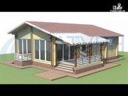 Фото: одноэтажный дом из дерева с террасой