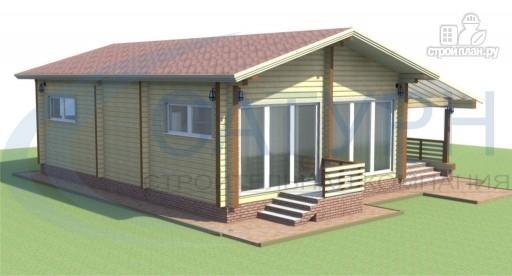 Фото 5: проект одноэтажный дом из дерева с террасой