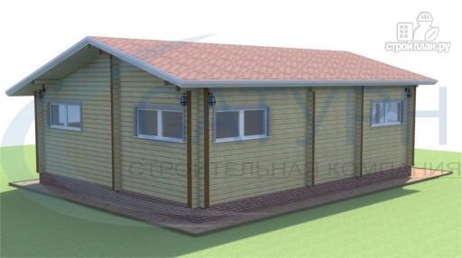 Фото 4: проект одноэтажный дом из дерева с террасой