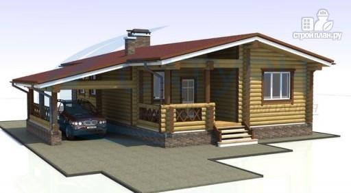Фото 4: проект одноэтажный деревянный дом с навесом для машины