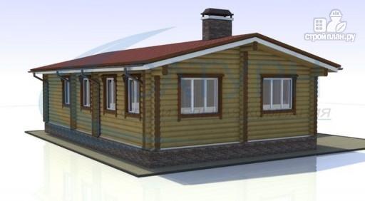 Фото 3: проект одноэтажный деревянный дом с навесом для машины