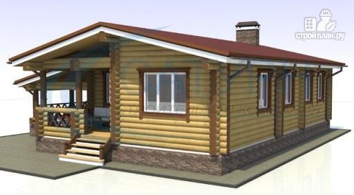 Фото 5: проект одноэтажный деревянный дом с навесом для машины