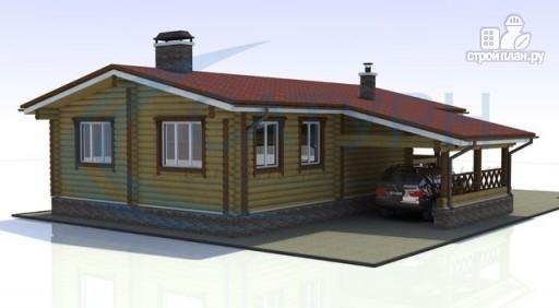 Фото 6: проект одноэтажный деревянный дом с навесом для машины