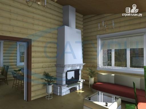 Фото 7: проект одноэтажный деревянный дом с навесом для машины