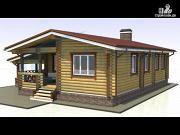 Фото: одноэтажный деревянный дом с навесом для машины