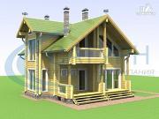 Фото: деревянный дом с двухсветным холлом