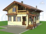 Фото: деревянный дом с крыльцом и балконом