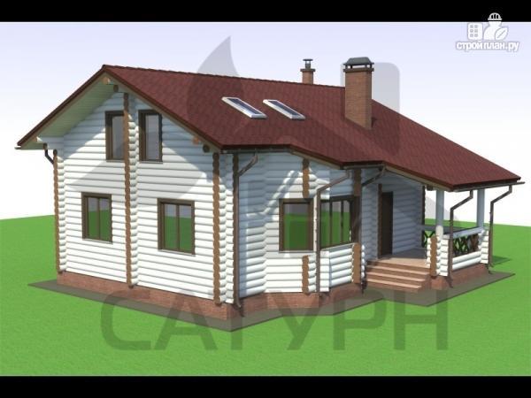 Фото: проект дом из дерева с эркером и камином