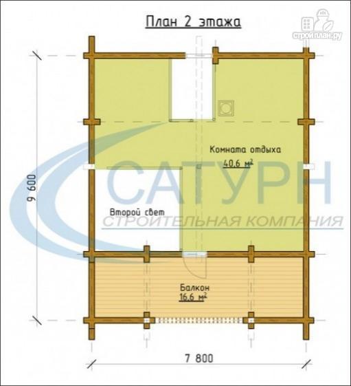 Фото 3: проект двухэтажная баня с балконом, террасой и вторым светом