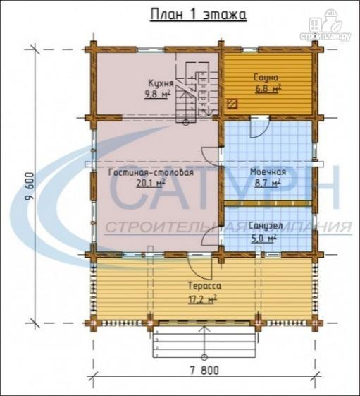 Фото 2: проект двухэтажная баня с балконом, террасой и вторым светом
