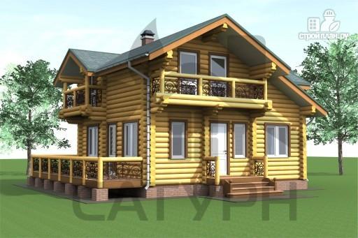 Фото 8: проект дом 8х8 из дерева с угловой террасой