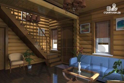 Фото 10: проект дом 8х8 из дерева с угловой террасой