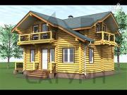 Фото: дом 8х8 из дерева с угловой террасой