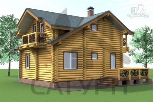 Фото 6: проект дом 8х8 из дерева с угловой террасой