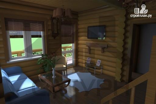 Фото 11: проект дом 8х8 из дерева с угловой террасой