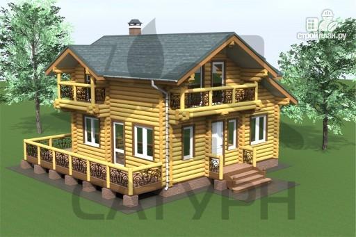 Фото 4: проект дом 8х8 из дерева с угловой террасой