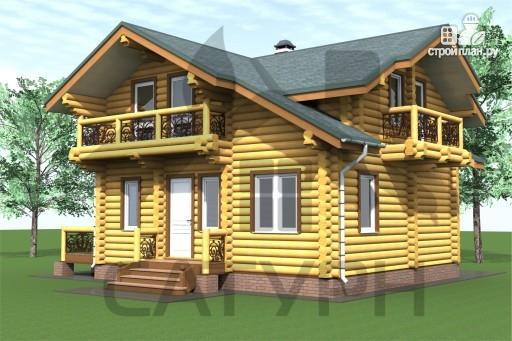 Фото 7: проект дом 8х8 из дерева с угловой террасой