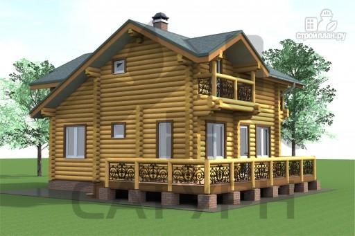 Фото 5: проект дом 8х8 из дерева с угловой террасой