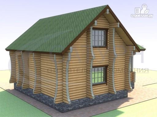 Фото 5: проект деревянный дом с сауной и большой террасой