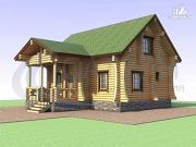 Фото: деревянный дом с сауной и большой террасой