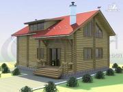 Фото: деревянный дом со вторым светом в гостиной