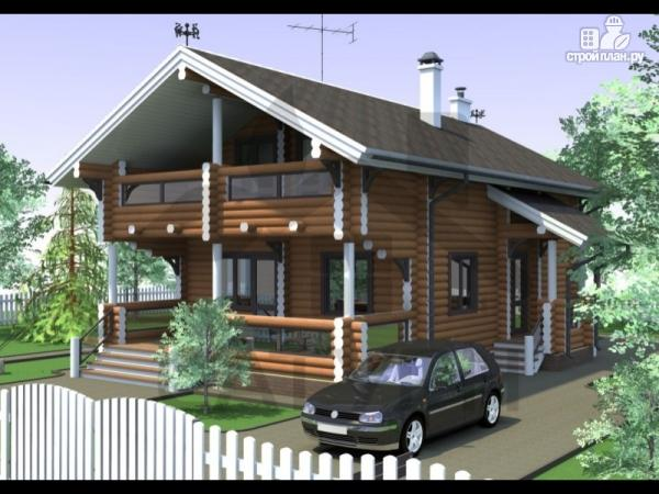 Фото: проект дом из дерева с террасой