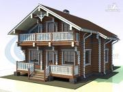 Фото: деревянный дом с парой балконов и террас