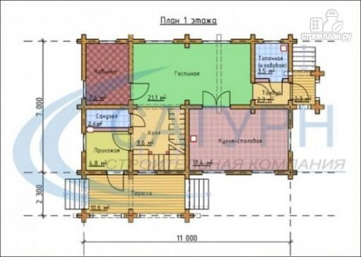 Фото 2: проект деревянный дом с террасой и крыльцом