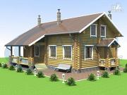 Фото: деревянный дом с террасой и крыльцом